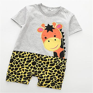 4fdd49c851 bebê Unisexo Básico Leopardo Manga Curta Poliéster Peça Única Preto   Bébé