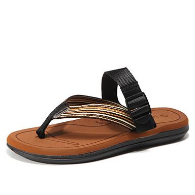 Men's Denim / Tulle Summer Comfort Slippers Gray & Flip-Flops Color Block Gray Slippers / Brown / Black / Red 744f7f