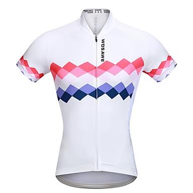 WOSAWE Women's Short Sleeve Cycling Jersey - White Bike Jersey, Quick Dry Polyester