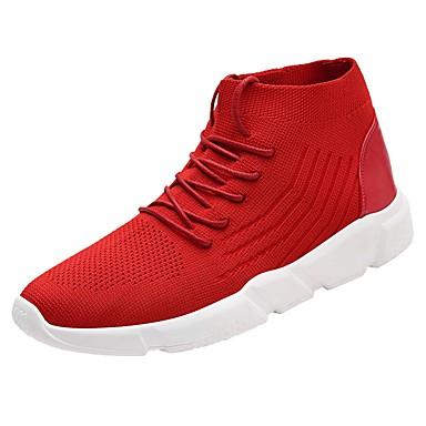 Hombre Zapatos Punto Verano Confort / Suelas con luz Zapatillas de deporte Blanco / Negro / Rojo 33jTxGV22i