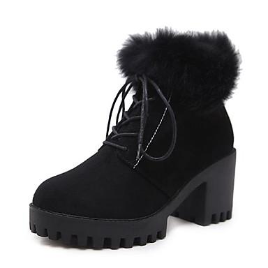 Bout Chaussures Hiver Bottier boîtes rond Combat Flocage Bottes Femme Noir 06694537 de Talon 6zqASAw