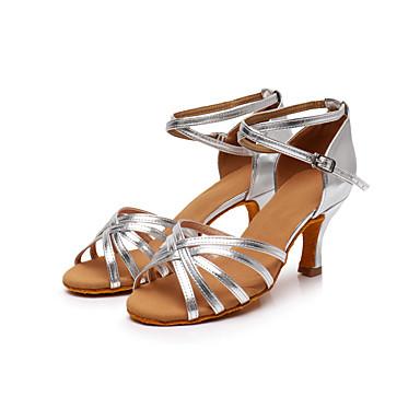 baratos Sapatos de Salsa-Mulheres Sapatos de Dança Seda Sapatos de Dança Latina / Sapatos de Salsa Presilha / Cadarço de Borracha Sandália / Têni Salto Personalizado Personalizável Leopardo / Transparente / Preto / EU40