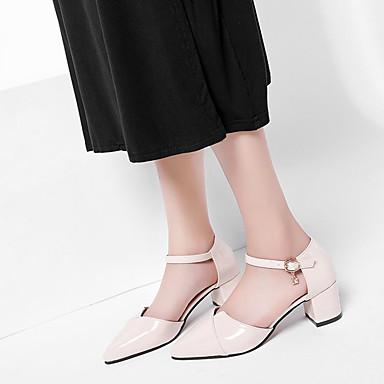 PU Verano Cuadrado Confort Rosa Tacón Tacones Mujer Dedo Zapatos 06698599 Puntiagudo Beige 4xw5H5