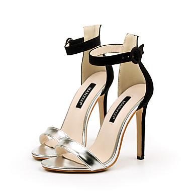 Pentru femei Imitație Piele Primavara vara Balerini Basic Sandale Toc Stilat Vârf deschis Cataramă Auriu / Argintiu / Party & Seară / Bloc Culoare / Party & Seară