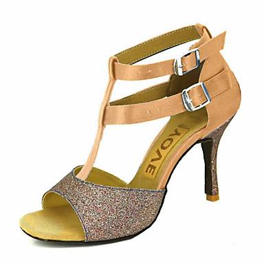 للمرأة أحذية رقص / أحذية سالسا ستان / حرير صندل / كعب مشبك / عقدة شريطة كعب مخصص مخصص أحذية الرقص برونز / اللوز / عاري / أداء / جلد / متخصص