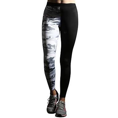 Pentru femei Pantaloni de yoga - Gri, Verde Militar Sport camuflaj Spandex Dresuri Ciclism / Leggings Alergat, Fitness, Sală de Fitness Îmbrăcăminte de Sport  Respirabil, Compresie, Fitness Înalt