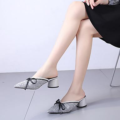 Cubain Femme Mules Noeud Arrière Noir Bride A Marche Sabot Bout Polyuréthane Chaussures pointu Brillante Eté amp; Paillette 06752117 Talon Argent pqwpPr