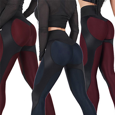 Women's Patchwork Yoga Pants Royal Blue Burgundy Sports Geometry High Rise Tights Leggings Zumba Running Fitness Activewear Push Up Butt Lift Tummy Control Stretchy Skinny