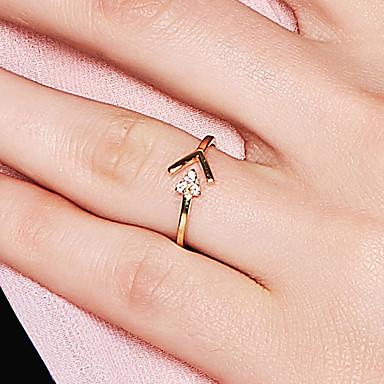 billige Motering-Dame Åpne Ring 1pc Gull 18K Gullbelagt S925 Sterling Sølv Trekant Dainty damer Koreansk Bryllup Maskerade Smykker Arrow
