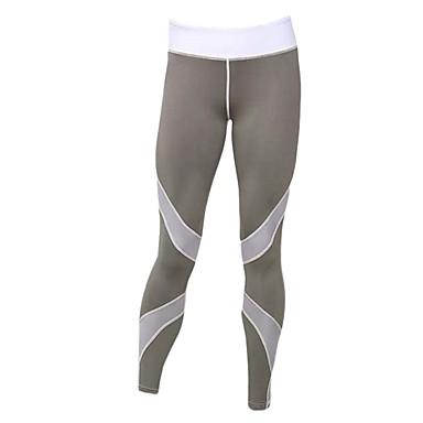 Damskie Siateczka / Patchwork Běžecké kalhoty - White, Black, Grey Sport Rajstopy rowerowe / Getry Odzież sportowa