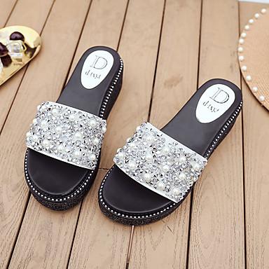 Confort Mujer Perla Zapatillas Tacón y flip Plano Imitación PU Negro Verano flops 06675331 Zapatos de Plateado CwqrqtF