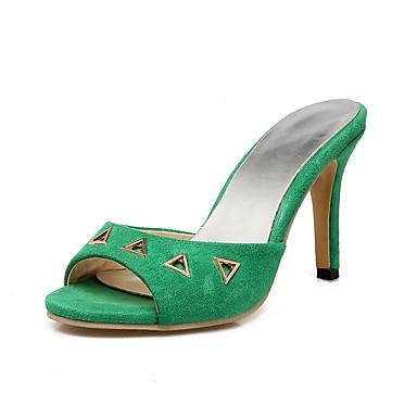 Mulheres Sapatos Pele Nobuck Verão Chanel Sandálias Salto Agulha Peep Toe Tachas Amarelo / Vermelho / Verde / Festas & Noite