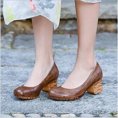 Pentru femei Pantofi Piele Primavara vara Noutăți Tocuri Toc Îndesat Cafea