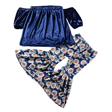 Copii Fete De Bază Mată Manșon scurt Poliester Set Îmbrăcăminte Albastru piscină