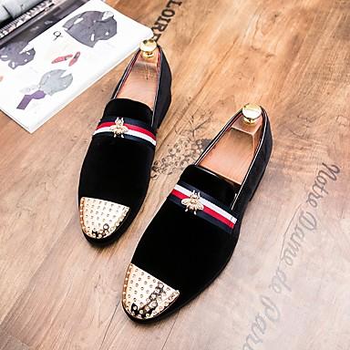 abordables Meilleures Ventes-Homme Chaussures Formal Daim Automne British Mocassins et Chaussons+D6148 Noir / Rouge / Mariage / Rivet / Soirée & Evénement / EU42
