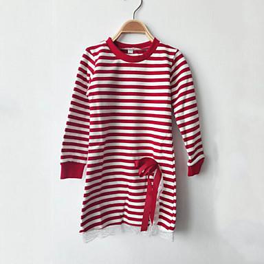 preiswerte Tops für Mädchen-Kinder Mädchen Spitze Schleife Streifen Alltag Gestreift Patchwork Langarm Standard Baumwolle T-Shirt Schwarz