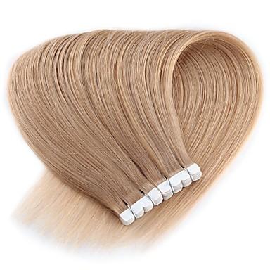 povoljno Perike i ekstenzije-Neitsi S ljepljivom trakom Proširenja ljudske kose Ravan kroj Ljudska kosa Produžetak Indijska kosa 1pack Novi Dolazak Rasprodaja Moda Ženska Srednje smeđa