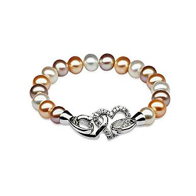 abordables Bracelet-Bracelet à Perles Femme Perle Perle d'eau douce S925 argent sterling Perle d'eau douce Cœur dames simple Mode Elégant Bracelet Bijoux Argent pour Soirée Cadeau