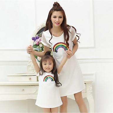 ieftine Set Îmbrăcăminte De Familie-Adulți / Copii Pentru femei De Bază Zilnic Bloc Culoare Manșon scurt Bumbac Rochie Alb