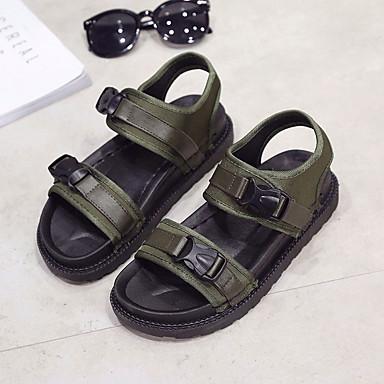 Negro Tela redondo Confort Verano 06680603 Dedo Tacón Zapatos Mujer Verde Sandalias Bajo w7p1xqRxFA