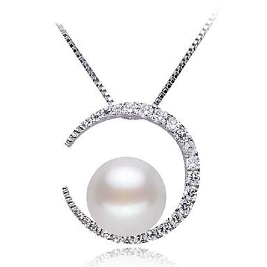Pentru femei Coliere cu Pandativ - Perle, S925 Sterling Silver MOON Clasic, Modă Draguț Argintiu 45 cm Coliere Bijuterii Pentru Zilnic