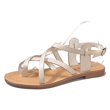 Pentru femei PU Vară Cu Inel pe Deget Sandale Toc Drept Cataramă Alb / Negru / Bej