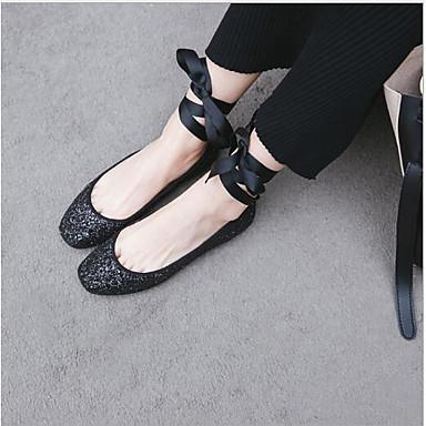 Confort Plat Noir Cuir 06684277 Bout Femme Ballerines Talon Eté Chaussures rond Nappa Argent If0WIqnBHw