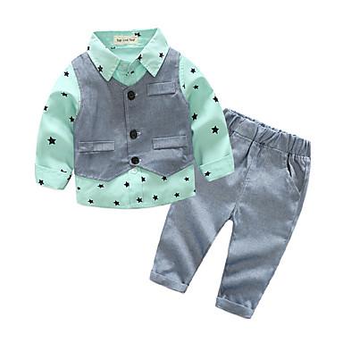 Bebelus Băieți De Bază Zilnic Bloc Culoare Manșon Lung Regular Poliester Set Îmbrăcăminte Trifoi 80 / Copil