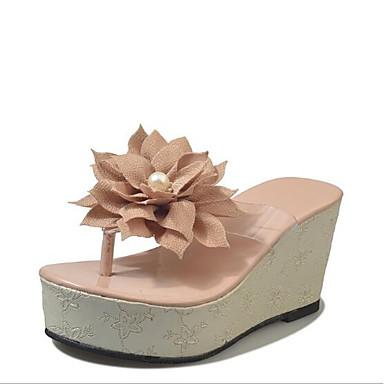 flops flip Tejido plataforma y 06685741 Beige Puntera Almendra Rosa abierta Media Verano Zapatillas Zapatos Mujer Confort 0np11q