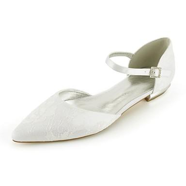 abordables Meilleures Ventes-Femme Chaussures de mariage Talon Plat Bout pointu Ruban Dentelle Confort / D'Orsay & Deux Pièces Eté Argent / Champagne / Ivoire / EU41