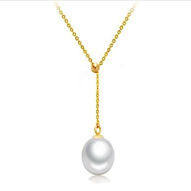 Pentru femei Perle Apă dulce Pearl Coliere cu Pandativ - Perle, Plastic, Teak Modă Încântător Auriu, Alb 45 cm Coliere Bijuterii Pentru Cadou, Zilnic / 18K Aur