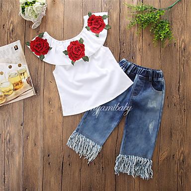 Χαμηλού Κόστους Ρούχα για Κορίτσια-Νήπιο Κοριτσίστικα Ενεργό Καθημερινά / Σχολείο Φλοράλ Φούντα Κοντομάνικο Κανονικό Κανονικό Βαμβάκι / Πολυεστέρας Σετ Ρούχων Λευκό / Χαριτωμένο