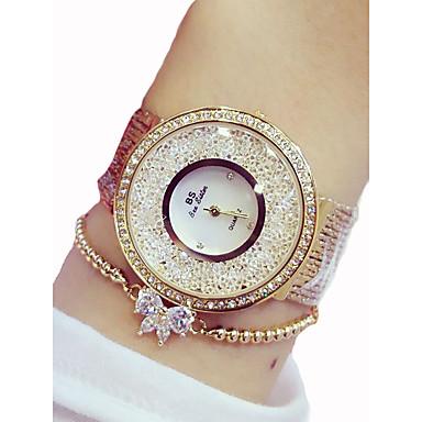 baratos Relógios Senhora-Mulheres Relógios Luxuosos Relógio de Moda Simulado Diamante Relógio Quartzo Aço Inoxidável Prata / Dourada 50 m Cronógrafo Analógico senhoras Luxo Brilhante - Dourado Prata Dois anos Ciclo de Vida