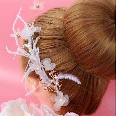 Aliaj Ornamente de Cap cu Pene / Imitație de Perle / Floral 1 buc Nuntă / Ocazie specială Diadema