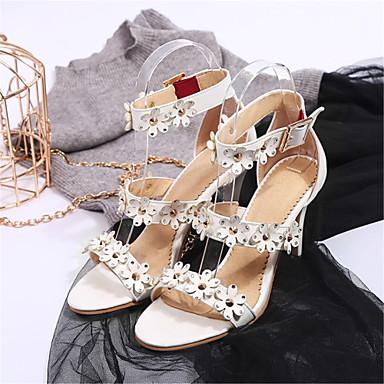 Femme Talon ouvert Personnalisées amp; Bout Aiguille Eté Rouge Matières Noir Sandales Chaussures Blanc 06659383 Soirée Confort Evénement rYzqBrx