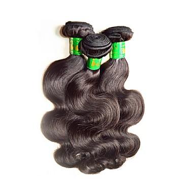 baratos Extensões de Cabelo Natural-3 pacotes Cabelo Indiano Onda de Corpo 10A Cabelo Virgem Cabelo Natural Remy Extensões de Cabelo Natural Côr Natural Tramas de cabelo humano Macio Suave Para Mulheres Negras Extensões de cabelo humano