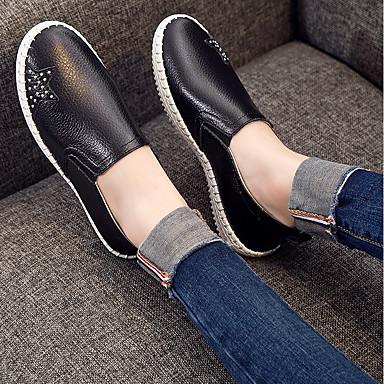 On Primavera Plano Mujer Zapatos Cuero Slip Tacón bajo Confort Blanco Zapatos 06681416 taco y Negro de verano RqqgxPwA