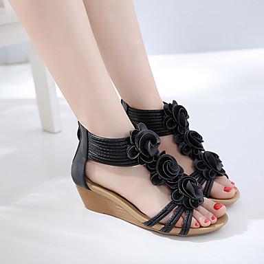 Femme rond compensée de Nouveauté Eté Noir synthétique Amande 06685192 en Satin de Chaussures Bout Fleur semelle microfibre Hauteur Sandales PU OEPwYOxr