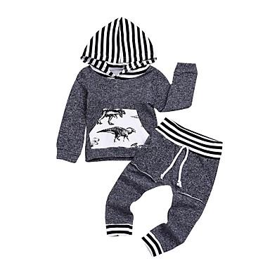 Bebelus Unisex Activ Imprimeu Manșon Lung Lung Bumbac Set Îmbrăcăminte
