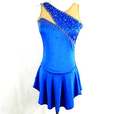 Vestidos para Patinação Artística Mulheres Para Meninas Patinação no Gelo Vestidos Azul Pedrarias Lantejoulas Elasticidade Alta
