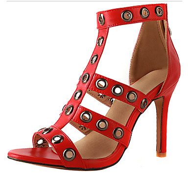 820e17cf1dc4 Women s PVC(Polyvinyl chloride)   PU(Polyurethane) Summer Comfort   Novelty  Sandals Stiletto Heel Open Toe Rivet   Buckle Black   Red   Pink   Party    ...