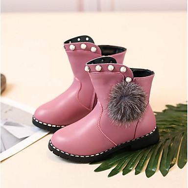 baratos Sapatos de Criança-Para Meninas Couro Ecológico Botas Little Kids (4-7 anos) / Big Kids (7 anos +) Coturnos Preto / Vermelho / Rosa claro Outono & inverno