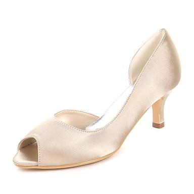 Pentru femei Pantofi Satin Primavara vara Balerini Basic pantofi de nunta Toc Mic Pantofi vârf deschis Bleumarin / Maro deschis / Cristal