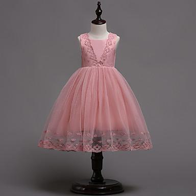 Χαμηλού Κόστους Φορέματα για κορίτσια-Παιδιά Κοριτσίστικα Βίντατζ Βασικό Πάρτι Γενέθλια Μονόχρωμο Πούλιες Αμάνικο Ως το Γόνατο Βαμβάκι Πολυεστέρας Φόρεμα Λευκό