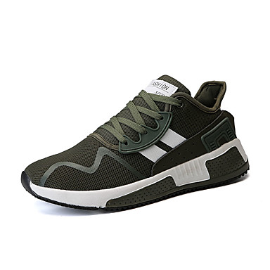 Bărbați Tul Vară Confortabili Adidași de Atletism Alergare / Plimbare Bloc Culoare Alb / Negru / Verde