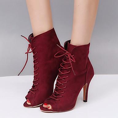 06681605 Botines Primavera Botas Hasta Borgoña Otoño Moda Negro de Azul Tobillo Stiletto Botas Nobuck Tacón el Cuero Zapatos Mujer 1fxwq4Uw