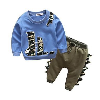 Bebelus Băieți Activ Zilnic Peteci Peteci Manșon Lung Regular Bumbac / Poliester Set Îmbrăcăminte Bleumarin 100 / Copil