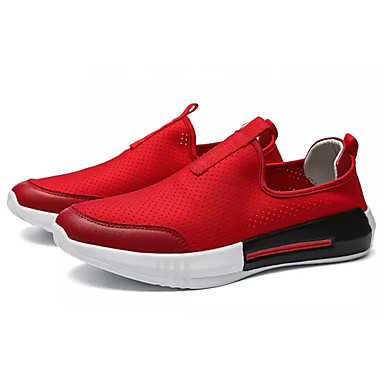 Men's Canvas Summer Comfort Loafers & Slip-Ons Red White / Black / Red Slip-Ons d02312