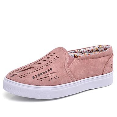 Pentru femei Pantofi Bumbac Toamnă / Primavara vara Confortabili Mocasini & Balerini Plimbare Toc Jos Vârf rotund Albastru / Roz