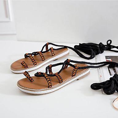 Chaussures Talon Plat Bout Femme rond Cheville Sandales Rouge Eté Bride Noir Ruban Jaune 06733331 Soie Gladiateur de q8pfd